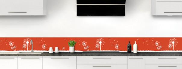 Crédence de cuisine Pissenlit au vent couleur rouge brique dosseret motif inversé