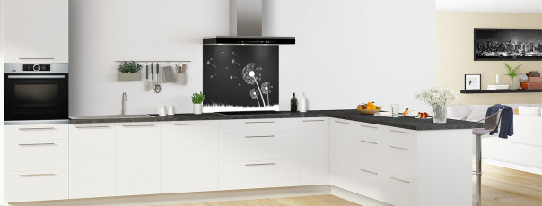 Crédence de cuisine Pissenlit au vent couleur noir fond de hotte motif inversé en perspective