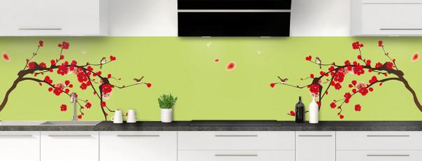 Crédence de cuisine Cerisier japonnais couleur vert olive panoramique motif inversé