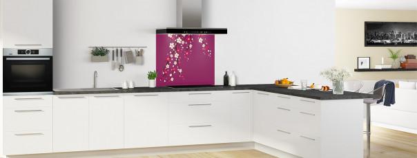 Crédence de cuisine Arbre fleuri couleur prune fond de hotte motif inversé en perspective