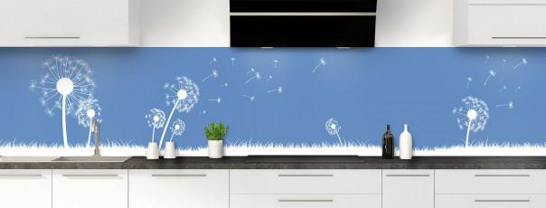 Crédence de cuisine Pissenlit au vent couleur bleu lavande panoramique