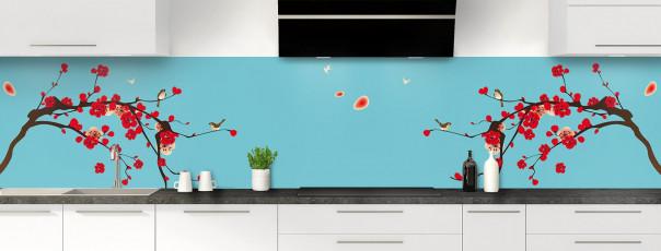 Crédence de cuisine Cerisier japonnais couleur bleu lagon panoramique motif inversé