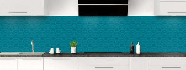 Crédence de cuisine Motif vagues couleur bleu canard panoramique