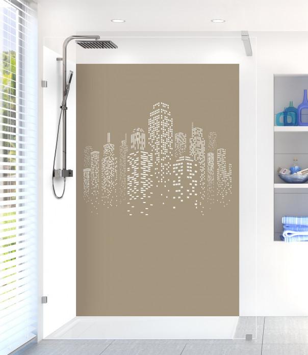Panneau de douche Gratte-ciels couleur marron glacé motif inversé