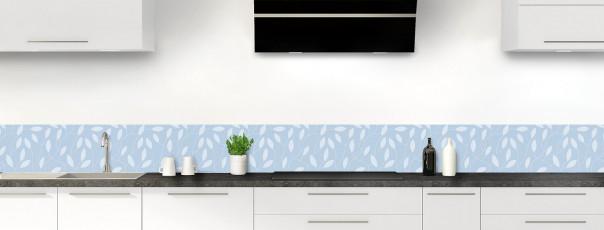 Crédence de cuisine Rideau de feuilles couleur bleu azur dosseret