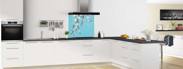 Crédence de cuisine Arbre fleuri couleur bleu lagon fond de hotte motif inversé en perspective
