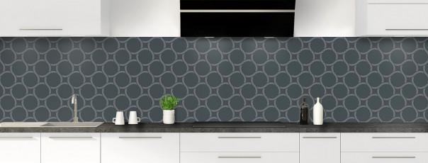 Crédence de cuisine Mosaïque cercles couleur gris carbone panoramique