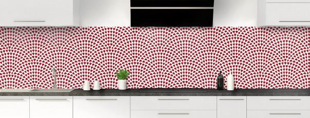 Crédence de cuisine Mosaïque petits cœurs couleur rouge pourpre panoramique