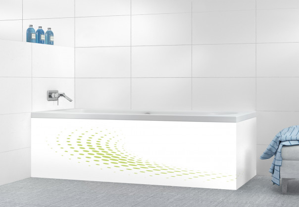 Panneau tablier de bain Nuage de points couleur vert olive motif inversé