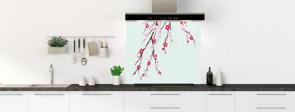 Crédence de cuisine Arbre fleuri couleur vert eau fond de hotte motif inversé
