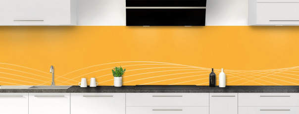 Crédence de cuisine Courbes couleur abricot panoramique