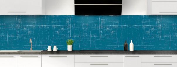Crédence de cuisine Ardoise rayée couleur bleu baltic panoramique