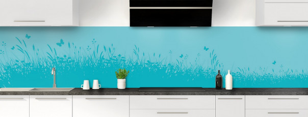 Crédence de cuisine Prairie et papillons couleur bleu lagon panoramique