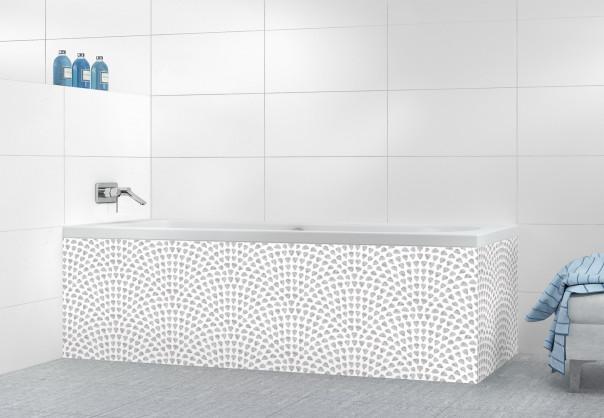 Panneau tablier de bain Mosaïque petits cœurs couleur gris clair
