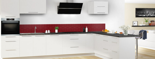 Crédence de cuisine Cubes en relief couleur rouge pourpre dosseret en perspective