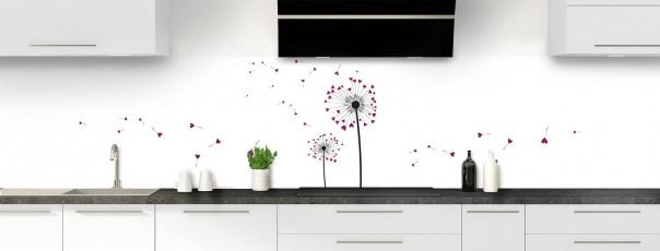 Crédence de cuisine Envol d'amour couleur prune panoramique