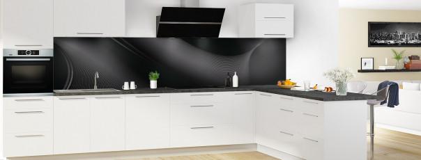 Crédence de cuisine Volute couleur noir panoramique motif inversé en perspective