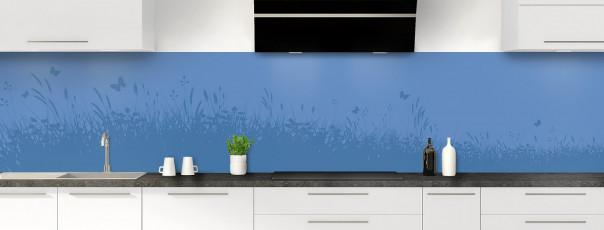 Crédence de cuisine Prairie et papillons couleur bleu lavande panoramique