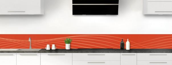 Crédence de cuisine Courbes couleur rouge brique dosseret motif inversé