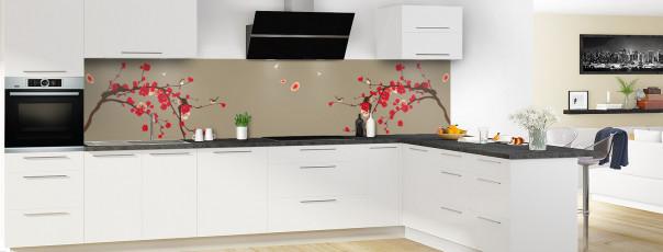 Crédence de cuisine Cerisier japonnais couleur marron glacé panoramique motif inversé en perspective
