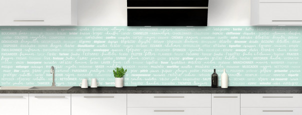 Crédence de cuisine Etapes de recette couleur vert pastel panoramique