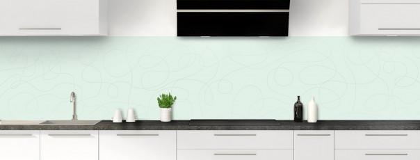 Crédence de cuisine Gribouillis couleur vert eau panoramique