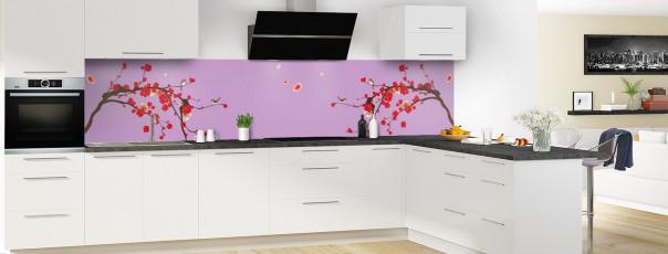 Crédence de cuisine Cerisier japonnais couleur parme panoramique motif inversé en perspective