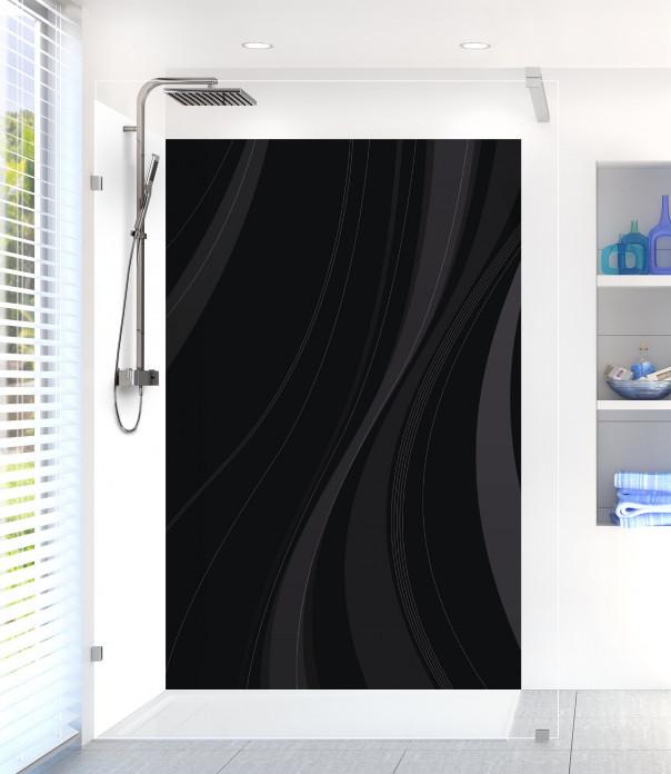 Panneau de douche Voilage couleur noir motif inversé