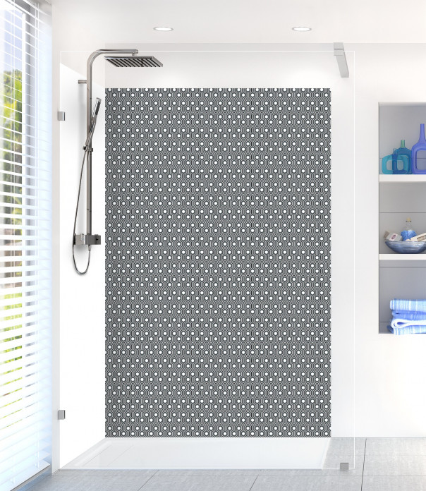 Panneau de douche Hexagones  couleur gris carbone