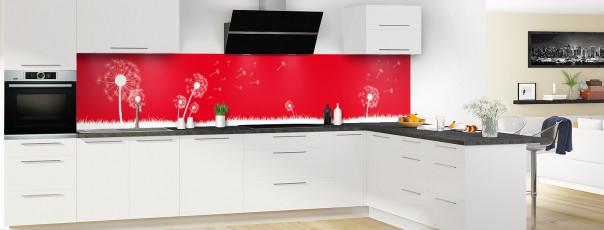 Crédence de cuisine Pissenlit au vent couleur rouge vif panoramique en perspective