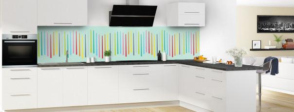 Crédence de cuisine Barres colorées couleur vert pastel panoramique en perspective