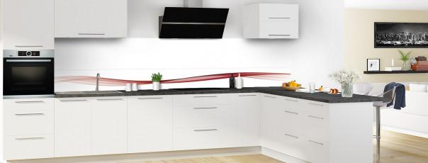 Crédence de cuisine Vague graphique couleur rouge carmin dosseret motif inversé en perspective