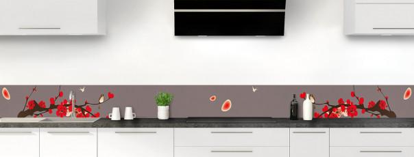 Crédence de cuisine Cerisier japonnais couleur taupe dosseret motif inversé