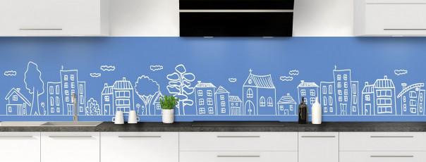 Crédence de cuisine Dessin de ville couleur bleu lavande panoramique
