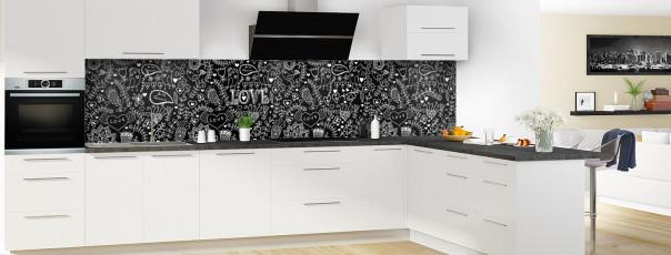 Crédence de cuisine Love illustration couleur noir panoramique en perspective