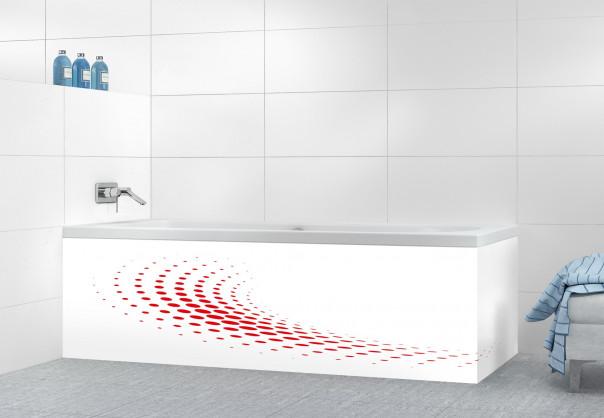 Panneau tablier de bain Nuage de points couleur rouge vif motif inversé