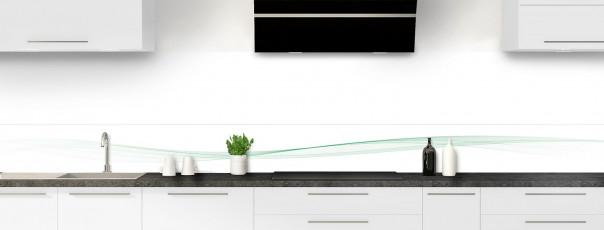 Crédence de cuisine Vague graphique couleur vert eau dosseret motif inversé
