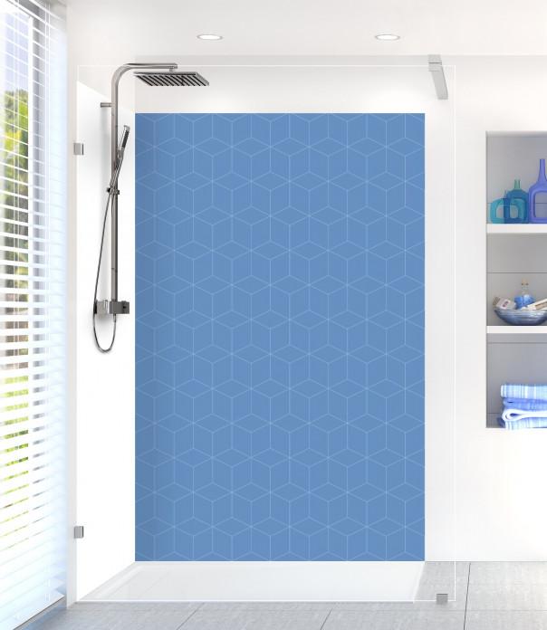 Panneau de douche Cubes en relief couleur bleu lavande