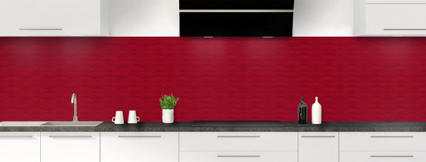 Crédence de cuisine Motif vagues couleur rouge carmin panoramique
