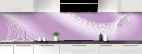 Crédence de cuisine Volute couleur parme panoramique motif inversé