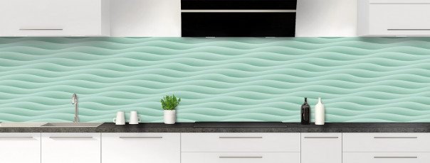 Crédence de cuisine Ondes couleur vert pastel panoramique