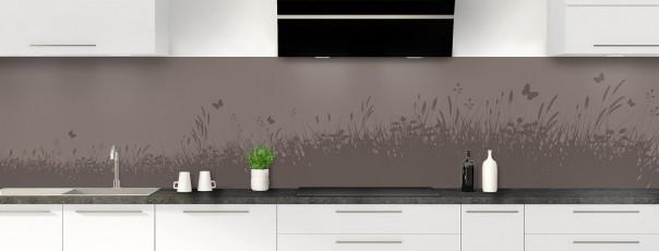 Crédence de cuisine Prairie et papillons couleur taupe panoramique motif inversé