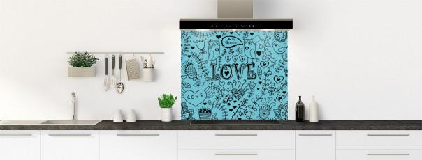 Crédence de cuisine Love illustration couleur bleu lagon fond de hotte