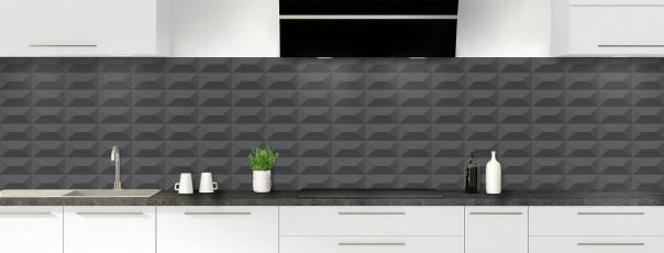 Crédence de cuisine Briques en relief couleur gris carbone panoramique