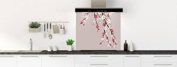 Crédence de cuisine Arbre fleuri couleur argile fond de hotte