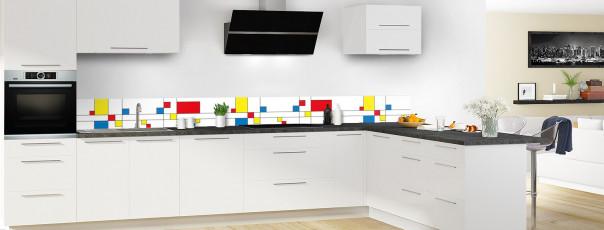 Crédence de cuisine Rectangles Mondrian dosseret en perspective
