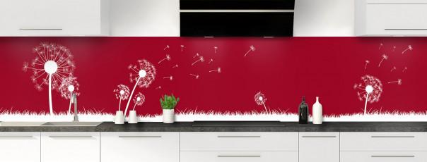 Crédence de cuisine Pissenlit au vent couleur rouge carmin panoramique