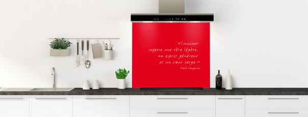 Crédence de cuisine  Citation Paul Gauguin couleur rouge vif fond de hotte