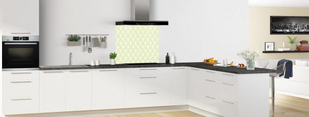 Crédence de cuisine Ecailles Magnolia couleur vert olive fond de hotte en perspective