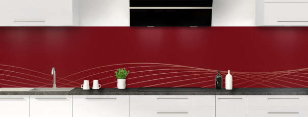Crédence de cuisine Courbes couleur rouge pourpre panoramique